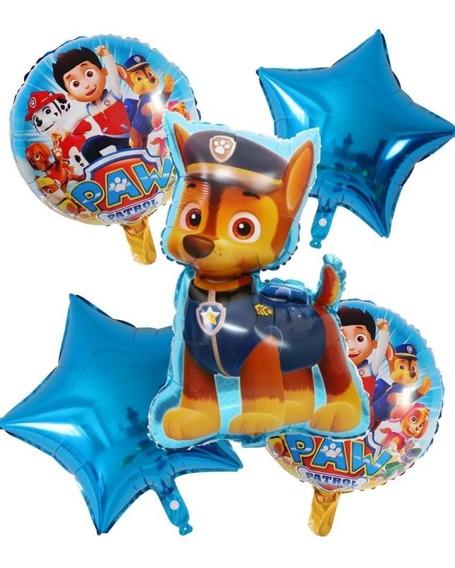 Globo Paw Patrol Chase + 2 Redondos + 2 Estrellas Azules