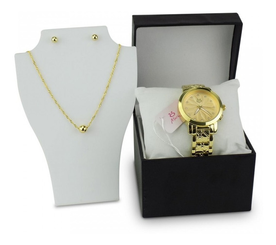 Relógio Feminino Dourado Aço Analógico Colar E Brincos