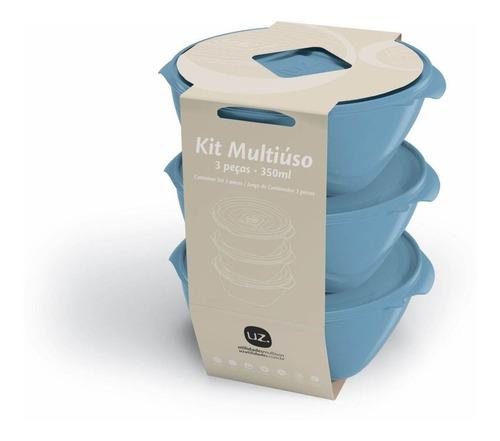 Imagem 1 de 1 de Jogo De Potes Plásticos Multiuso Redondos 3 Peças 350ml Uz Utilidades - Azul
