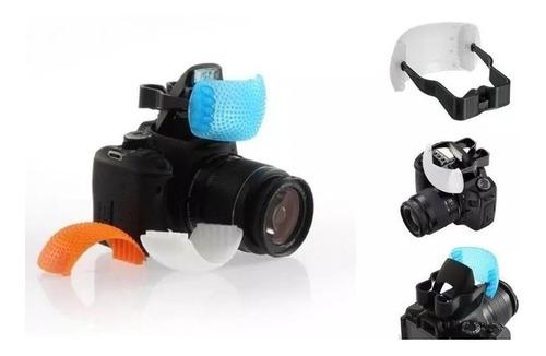 Difusor Tres Cores Para Cameras Com Flash Popup Canon Nikon