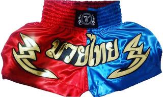 Short (calção) Muay-thai, Red/blue, Ref.15;