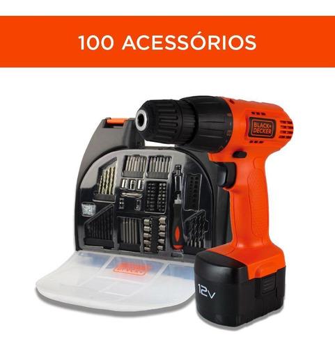 Parafusadeira Furadeira 12v + Kit 100 Peças - Black+decker