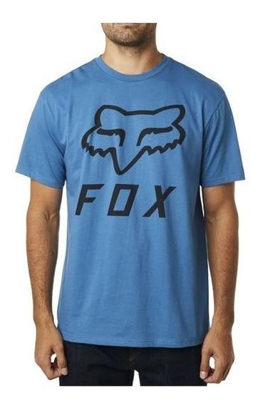 Playera Fox Logoes Ss Azul Casual Lifestyle Moto Bici