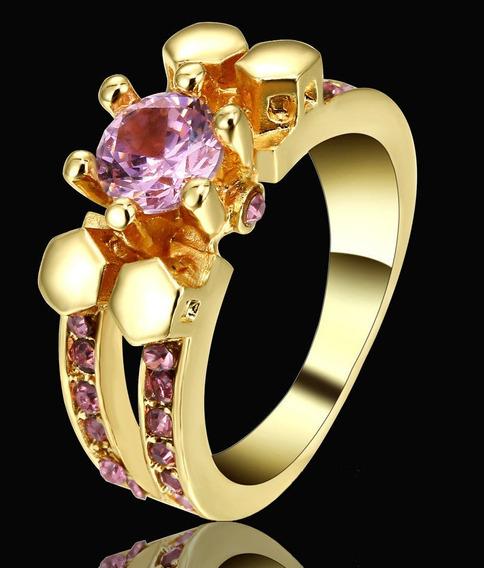 Aro 15 Anel Feminino Solitário Cristal Rosa 3banh Ouro 520 X