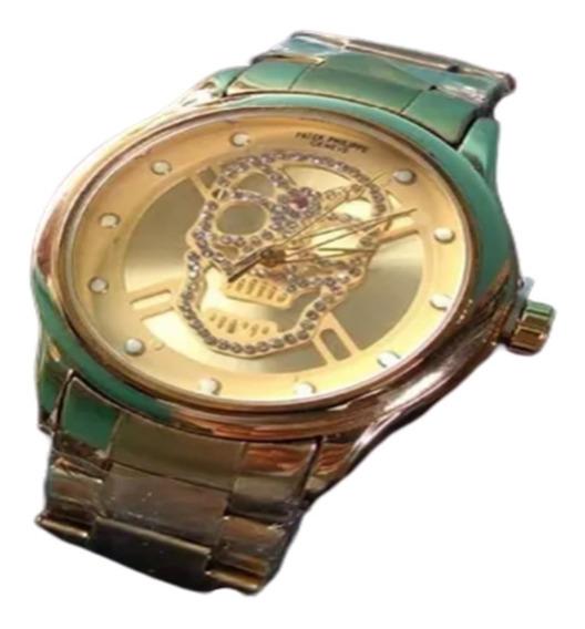 Relógio Grande Dourado Aço Caveira Brilhante Luxo Top Barato