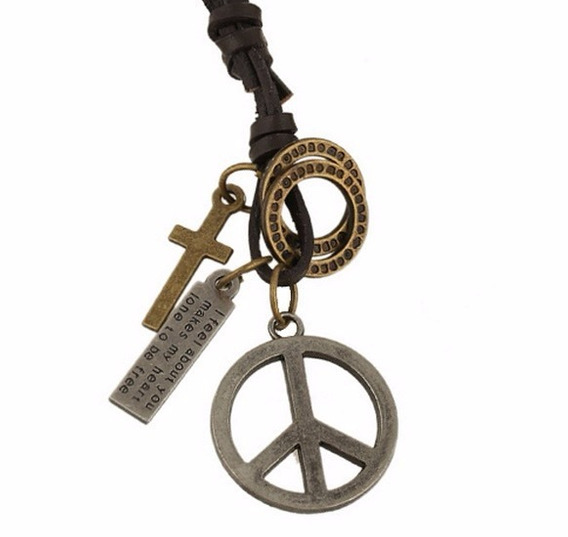 Colar Cordão Paz Mundial Masculino Couro Legítimo