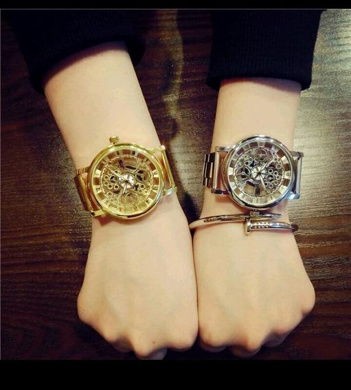Kit 2 Relógios 1 Prata 1 Dourado Esqueleto Militar Feminino