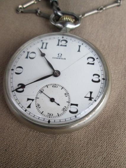 Antiguo Reloj De Plata Omega De Bolsillo 15 Rubies