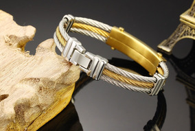 Pulseira Bracelete Masculino Dourado Aço Titânio Zircônia
