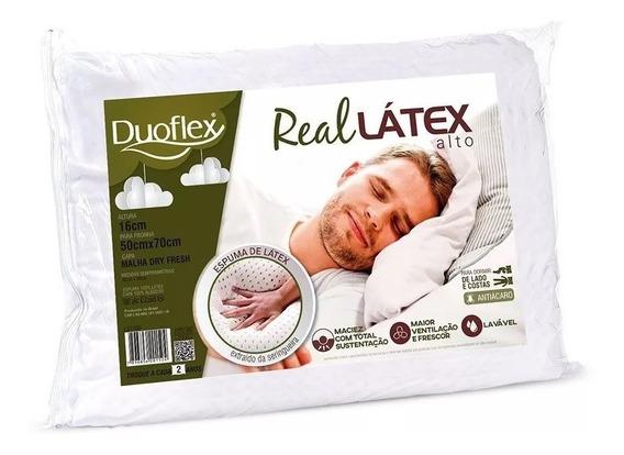 Travesseiro Latex Capa 100% Algodão Dry Fresh - Duoflex Real