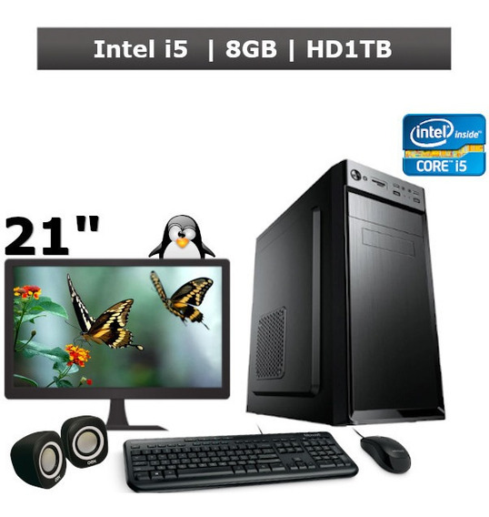 Computador Desktop Core I5 8gb Hd 1tb Monitor 21 + Kit + Nf