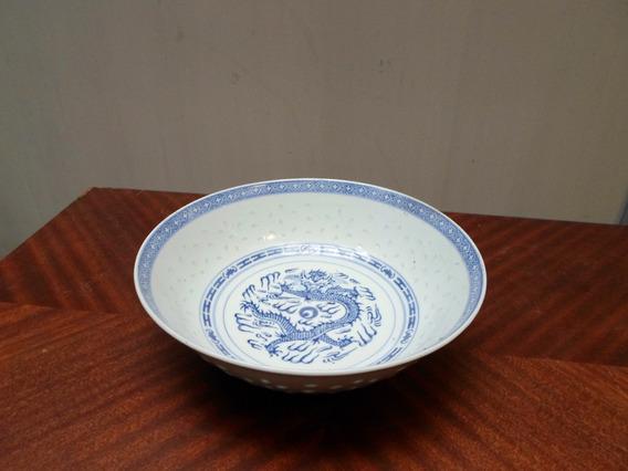 Antigua Ensaladera En Porcelana China Grano De Arroz 23cm