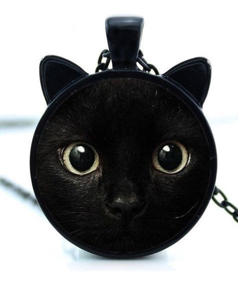 Colar Gato Preto Metal C/proteção De Vidro Gatinho Importado