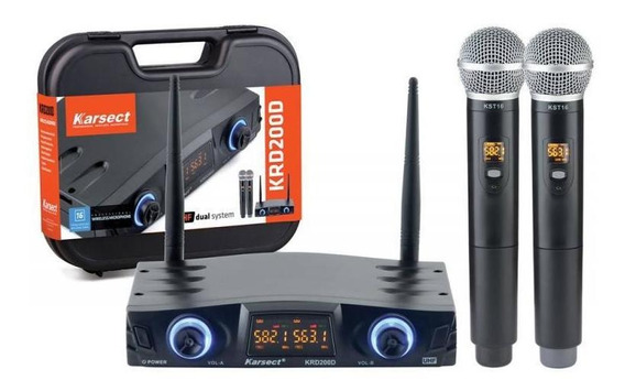 Microfone De Mão Duplo Sem Fio Karsect Krd200dm - Uhf