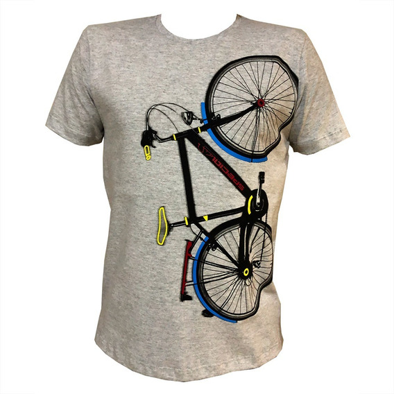 Camiseta Masculina Algodão Básica Com Estampa De Bicicleta