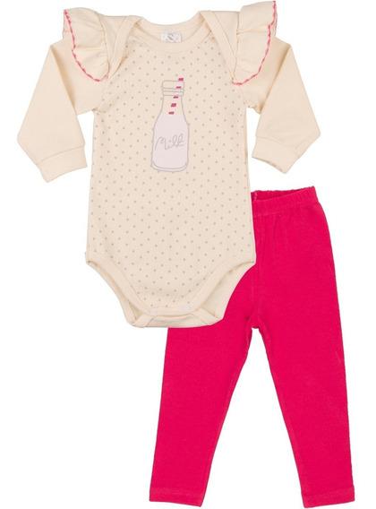 Roupa Bebê Menina Conjunto Body Com Babado E Calça Inverno