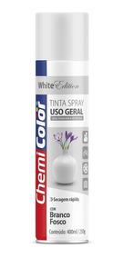 Tinta Spray Uso Geral Branco Fosco 400ml Chemicolor