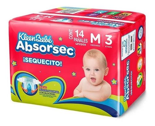 Imagen 1 de 2 de Pañales Kleenbebe Absorsec Unisex Mediano 14 Piezas Etapa 3
