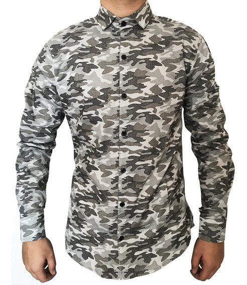 Camisas De Hombre Camuflada Importada Militar Elastizada