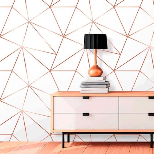 Kit 5 Rolos Papel De Parede Zara Branco Com Rosê Gold