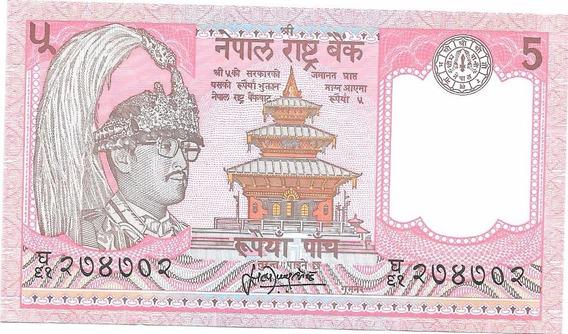 Liquido Excelente Billete De Nepal. 5 Rupias 1987 Unc