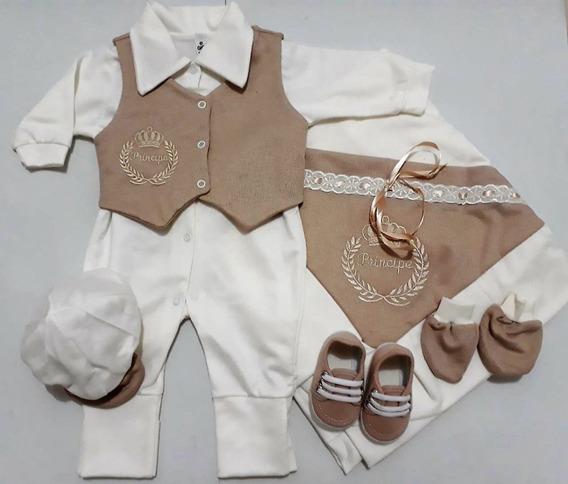 Saída Maternidade 6 Peças 100% Algodão - Masculino Marrom