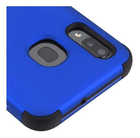 Samsung Galaxy A20 Resistente Funda De 3 Pieza Mybat Azu