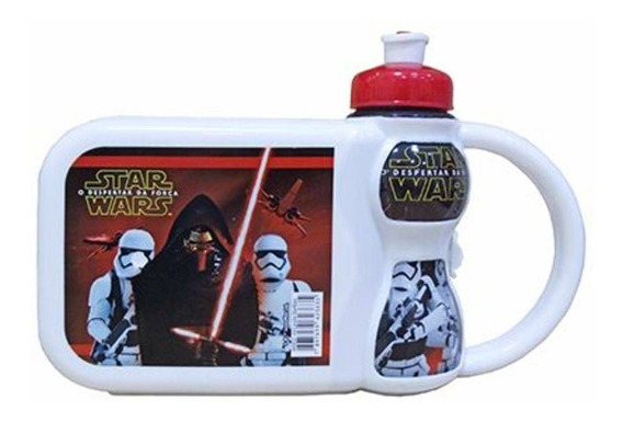 Lancheira Infantil Plástica Com Squeeze 250ml Star Wars