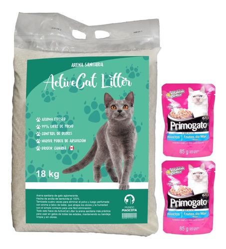 Imagen 1 de 2 de Arena Sanitaria Aglomerante Gato Active Cat 18 Kg + Regalo