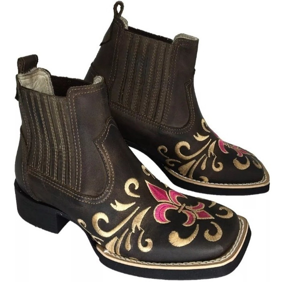 Bota Botina Feminina Bordada Flor Cano Curto Country Boots