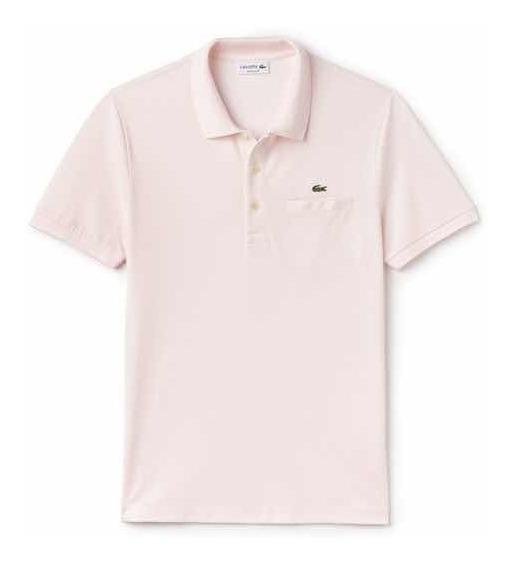 Polo Lacoste En Corte Regular Con Bolsa Al Pecho C. Flamingo