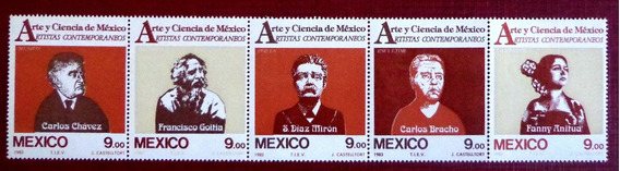 México, Tira Horizontal Sc. 1335a Artistas 1983 Mint L7550