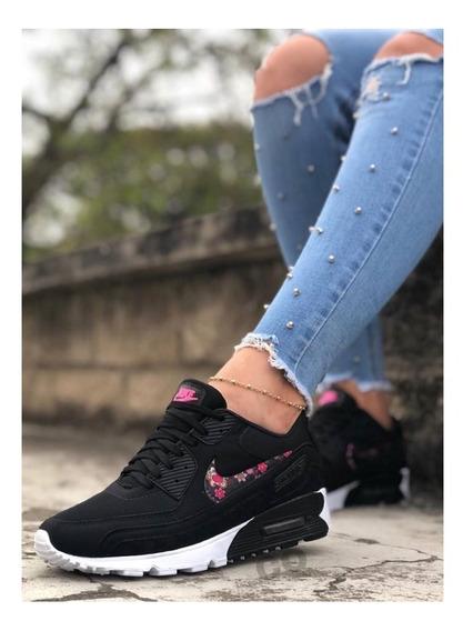 Zapatos Tenis Nike Air Max 90 Dama Negro Flower Envio Gratis