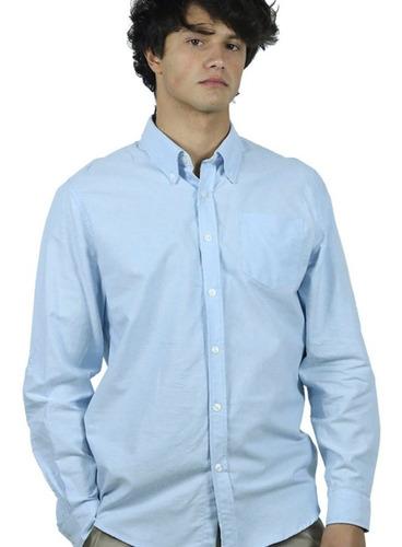 Camisa De Trabajo Oxford Hombre Celeste Blanco - Textilshop