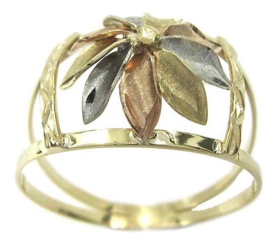 Joianete A8990-72436 Anel De Ouro Vazado Florido Três Tons