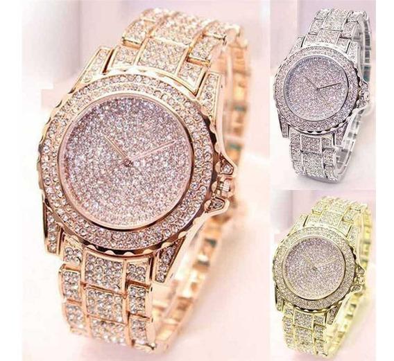 Lindo Relógio Brilhante Feminino Com Strass Pulseira De Luxo