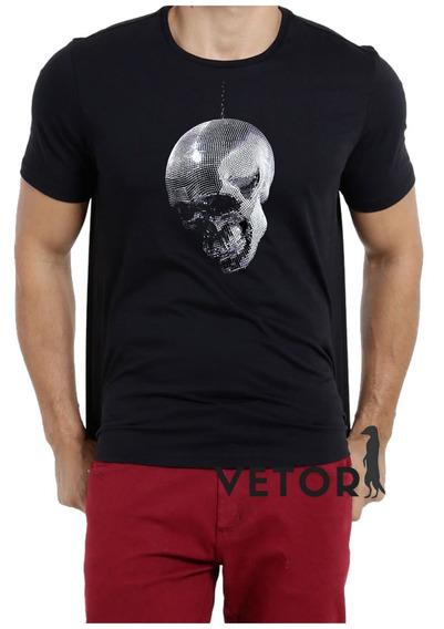 Camisa Camiseta Masculino Blusa A Caveira Prateada Pingente