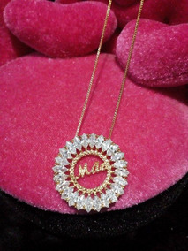 Colar Mandala Escrita Mae Em Zirconia Folheado A Ouro Moda