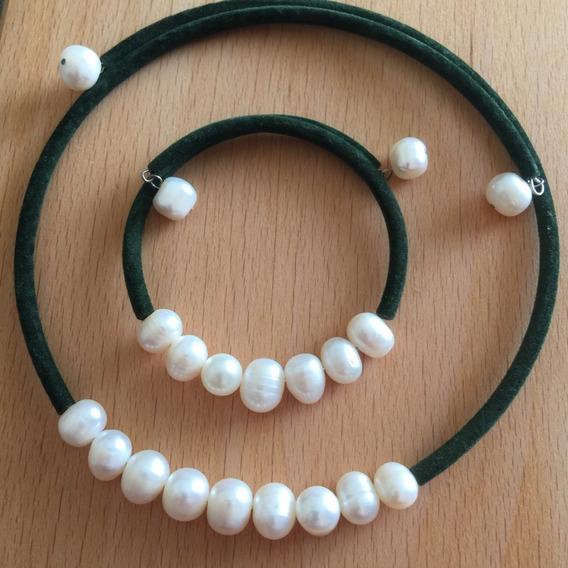 Gargantilla Y Pulsera De Perlas Terciopelo Verde - P3rlas