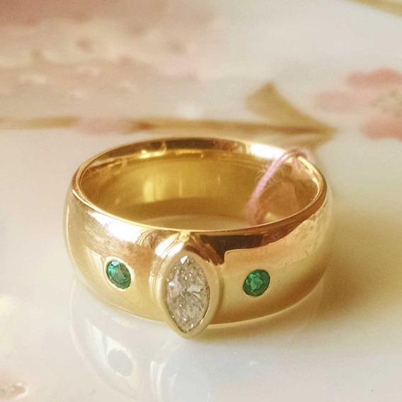Banda Matrimonial Talla 9 Con Diamante Y Esmeraldas De 14k