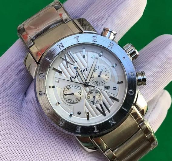 Relógio Masculino Prata Com Calendário Funcional