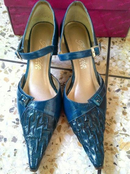 Zapatos Color Turquesa Tacón Bajo Talla 38