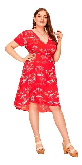 Vestido Shein Cruzado Manga Corta Casual Plus Size 2x