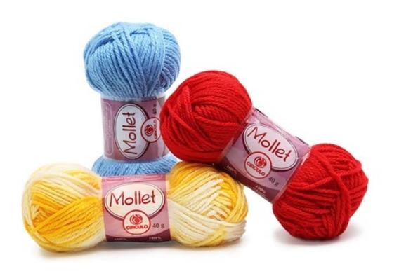 10 Novelos Lã Mollet 40g Crochê / Tricô - Círculo