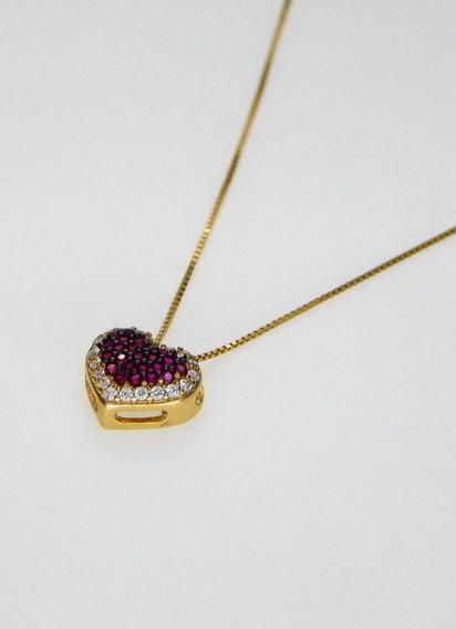 Colar Feminino Coração Vermelho Ouro 18k E Pedra Zircônia