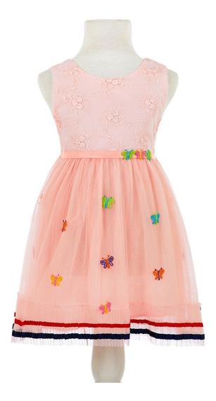 Vestido Importado Nena Con Tull Y Mariposa Talle 2 A 6 C8735