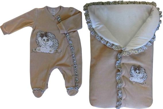 Saída Maternidade - Plush - Bordada Macacão E Saco De Dormir