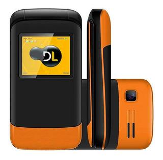 Telefone Simples Idosos Flip Dl 230 2chips Câmera Fm Laranja