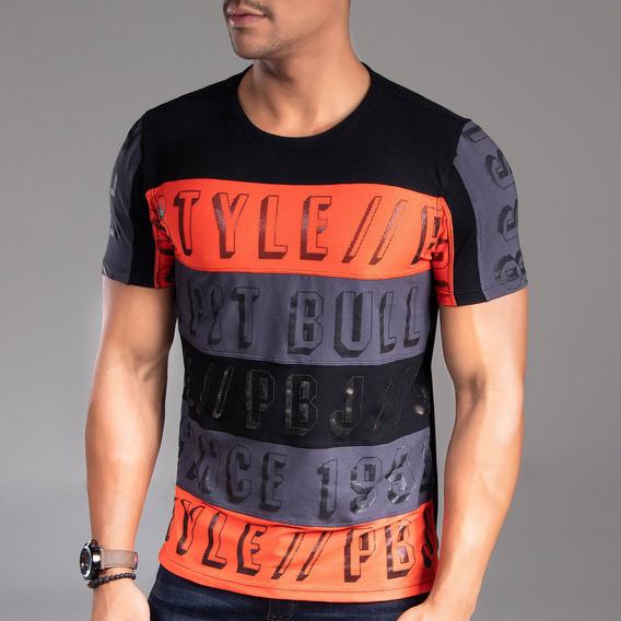 Camiseta Masculina Pit Bull Jeans Gola O 34012