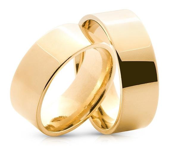 Alianças Ouro 18k 8 Gramas 6mm Casamento Noivado Quadrada